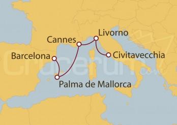 Crucero Civitavecchia (Roma), Florencia, Francia, Palma de Mallorca y Barcelona