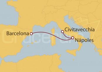 Crucero Europa - Barcelona, Nápoles, Civitavecchia (Roma)