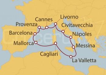 Crucero Civitavecchia (Roma), Florencia, Francia, España, Cerdeña, Malta y Sicilia