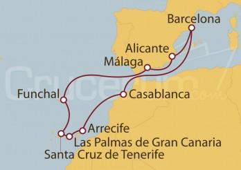 Crucero Barcelona, Marruecos, Islas Canarias, Portugal y Alicante