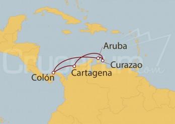 Crucero Cartagena (Colombia), Curaçao, Aruba, Panamá
