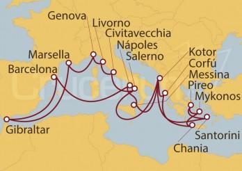 Crucero España, Gibraltar, Francia, Italia, Montenegro, Grecia