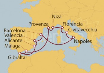 Crucero Barcelona, Valencia, Alicante, Gibraltar, Málaga, Francia, Niza, Italia, Roma, Nápoles