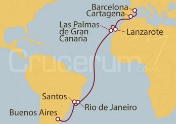 Crucero Barcelona (España), Brasil,Buenos Aires (Argentina)
