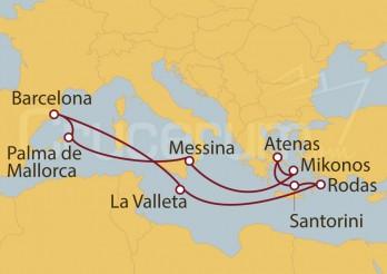 Crucero Barcelona, Palma de Mallorca, Sicilia, Grecia, Malta