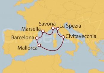 Crucero España, Francia, Italia, Islas Baleares I