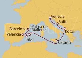 Crucero Barcelona, Valencia, Ibiza, Palma de Mallorca, Sicilia y Mar Adriático