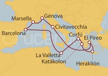 Crucero Barcelona, La Valletta, Grecia, Italia y Marsella