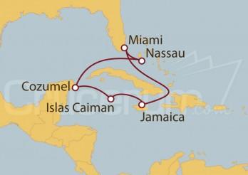 Crucero Miami (EEUU), Jamaica, Islas Caimán, México y Bahamas