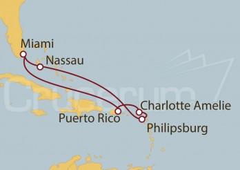 Crucero Miami (EEUU), Puerto Rico, Islas Vírgenes, St. Maarten, Bahamas