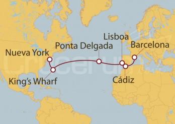 Crucero Barcelona, Ponta delgada, Bermudas y Nueva York