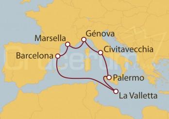 Crucero Civitavecchia (Roma), Malta, Barcelona y Francia