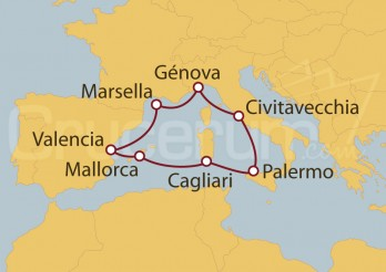 Crucero Civitavecchia (Roma), España y Francia
