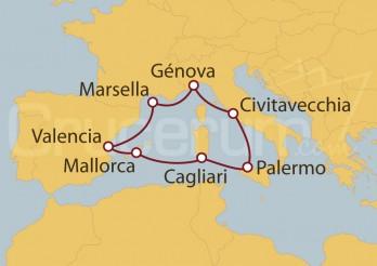 Crucero Civitavecchia (Roma), España y Marsella