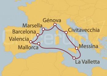 Crucero Civitavecchia (Roma), Marsella, España y La Valletta