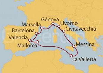 Crucero Roma (Civitavecchia),  Francia, España y La Valletta