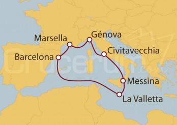 Crucero Civitavecchia (Roma), La Valletta, Barcelona y Marsella