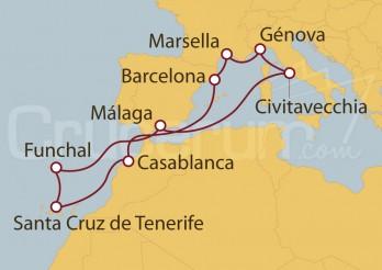 Crucero Civitavecchia (Roma), Francia, España, Marruecos y Portugal