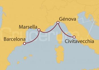 Crucero Civitavecchia (Roma), Marsella y Barcelona