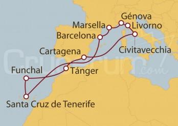 Crucero Civitavecchia (Roma), Marsella, Islas Canarias (España) , Funchal (Portugal) y Marruecos