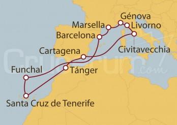 Crucero Civitavecchia (Roma), Marsella, Funchal (Portugal), Islas Canarias (España),  y Marruecos