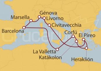 Crucero Civitavecchia (Roma), Marsella, Barcelona, La Valletta y Grecia