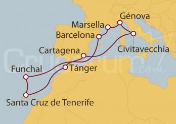 Crucero Civitavecchia (Roma), Francia, Funchal (Portugal), Islas Canarias (España), Funchal (Portugal) y Marruecos