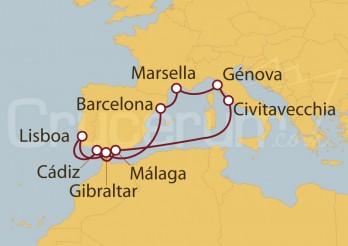 Crucero Civitavecchia (Roma),  Marsella (Francia), España y Lisboa