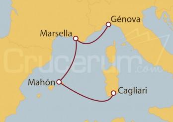 Crucero Minicrucero 4 días: Génova (Italia), Marsella, Mahón y Cagliari