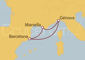 Crucero Génova (Italia),  Marsella y Barcelona