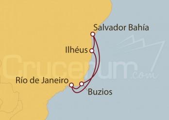 Crucero Río de Janeiro, Buzios, Salvador de Bahía , Ilhéus, Río de Janeiro (Brasil)