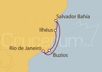 Crucero Río de Janeiro, Salvador de Bahía , Ilhéus, Buzios (Brasil)