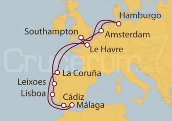Crucero Hamburgo (Alemania), Reino Unido, Francia, Portugal, España y Holanda