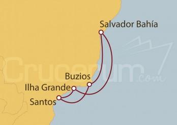 Crucero Santos, Buzios, Salvador de Bahía , Ilha Grande, Santos