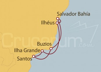 Crucero Santos, Buzios, Salvador de Bahía , Ilhéus, Ilha Grande, Santos (Brasil)