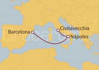 Crucero Minicrucero 4 días: Civitavecchia (Roma), Nápoles y Barcelona