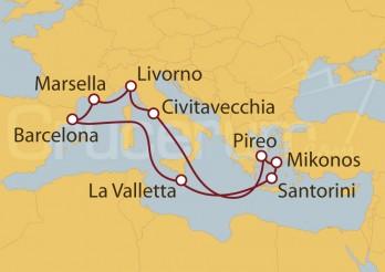 Crucero Barcelona, Malta, Grecia, Mikonos, Atenas, Roma, Florencia, Francia