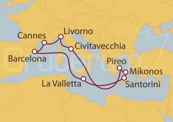 Crucero Barcelona (España), Francia, Florencia, Roma, Grecia, Malta