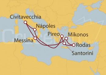 Crucero Civitavecchia (Roma), Sicilia, Grecia, Rodas, Atenas y Nápoles