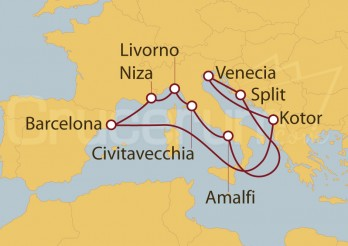 Crucero Barcelona, Niza, Italia, Roma, Croacia, Venecia, Montenegro