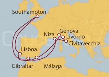 Crucero Southampton (UK), Francia, Italia, Málaga y Lisboa