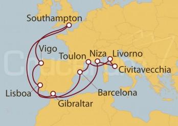 Crucero Southampton (UK), España, Francia, Italia y Lisboa