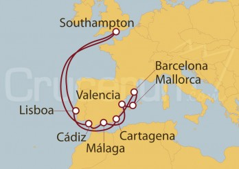 Crucero Southampton (UK), España, Baleares y Lisboa