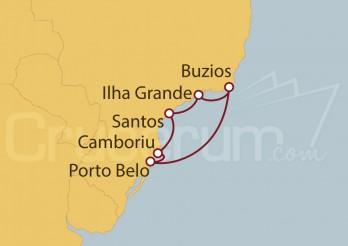Crucero Santos, Ilha Grande, Buzios, Porto Belo, Camboriu, Santos