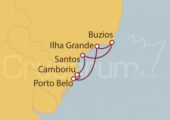 Crucero Santos, Buzios, Ilha Grande, Portobelo, Camboriu, Santos