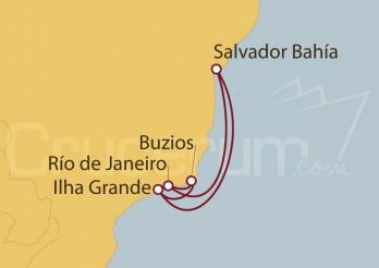 Crucero Río de Janeiro, Salvador de Bahía , Ilha Grande, Buzios (Brasil)