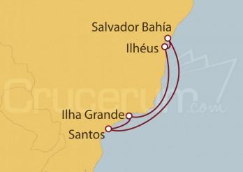 Crucero Santos, Salvador de Bahía , Ilhéus, Ilha Grande, Santos