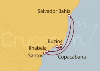 Crucero Santos, Ilhabela, Buzios, Copacabana, Salvador de Bahía , Santos