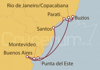 Crucero Buenos Aires (Argentina), Uruguay, Brasil
