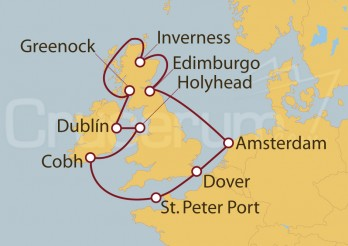 Crucero Amsterdam (Holanda), Escocia, Reino Unido, Irlanda, Gales, UK, Inglaterra